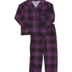3/30$ George Plaid Purple and Blue Button PJ Set